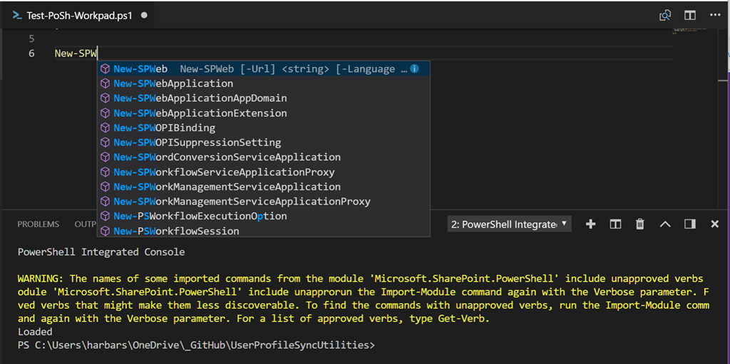 "Adding the SharePoint ""stubs"" to your VS Code PowerShell profile"